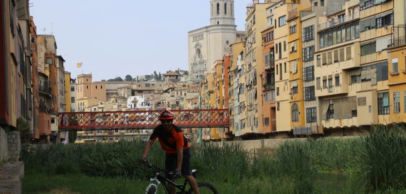 Girona's beautiful and colourful old town forms the backdrop for the Sea Otter Europe bike festival.