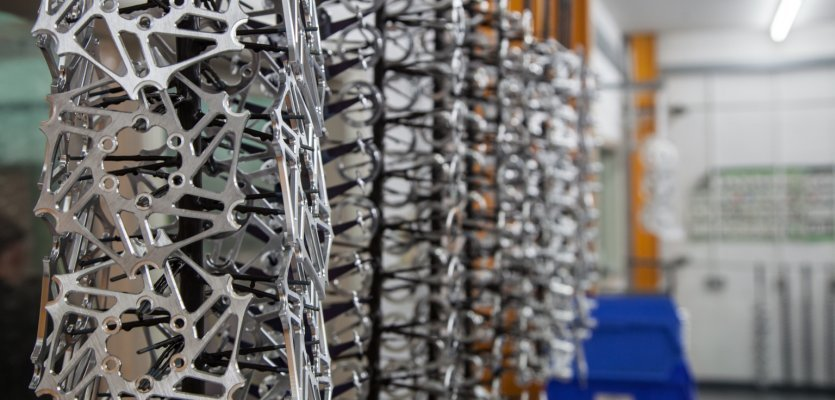 One part of the brake rotor production process.