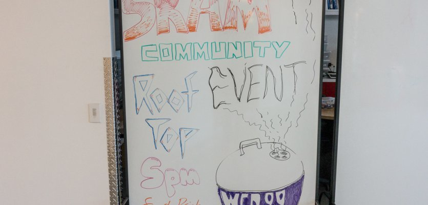 Whiteboard, Community, Social Event, Barbecue, Rahmenprogramm